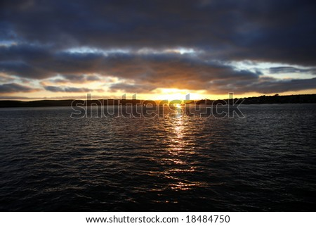 amazing sunset over the sea - stock photo