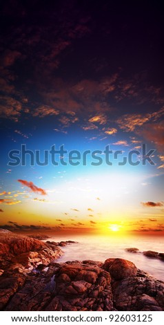 Amazing sunset scene. Long exposure shot. Vertical composition. - stock photo