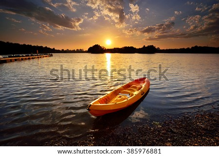 Amazing sunset view with dramatic sky at Wetland  Lake Park, Putrajaya Malaysia. Nature composition. - stock photo