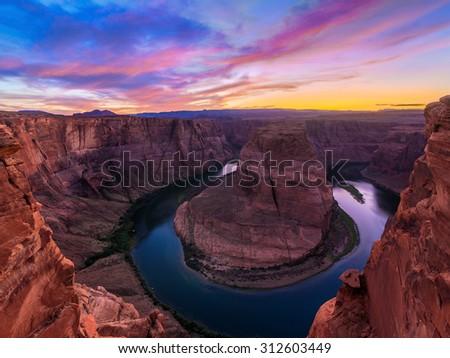 Amazing Sunset Vista of Horseshoe Bend in Page, Arizona - stock photo