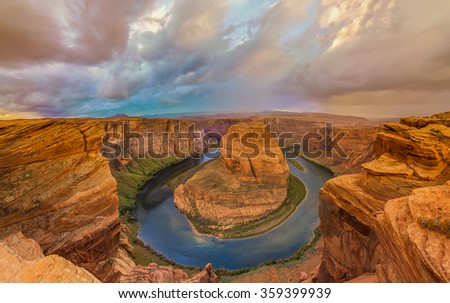 Amazing Sunset Vista of Horseshoe Bend in Page, Arizona - stock photo