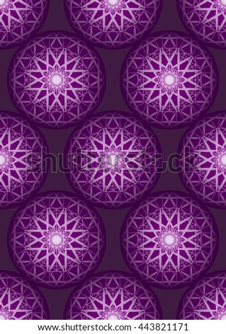 Amazing template design on purple glowing background. Seamless pattern can be used for wallpaper, pattern fills, web page background, surface textures. - stock photo