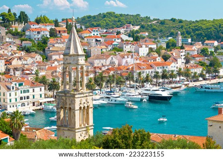 Amazing town of Hvar harbor aerial view, Dalmatia, croatia - stock photo