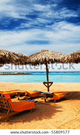 Amazing tropical beach in the Egypt. - stock photo