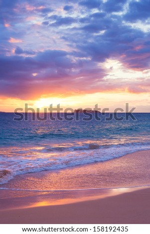 Amazing Tropical Beach Sunset, South Maui, Hawaii - stock photo