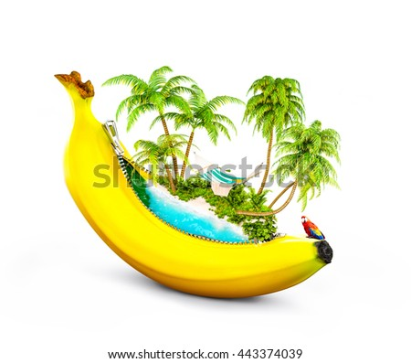 Amazing tropical beach with palms inside banana. Unusual travel 3d illustrtion. Isolated on white