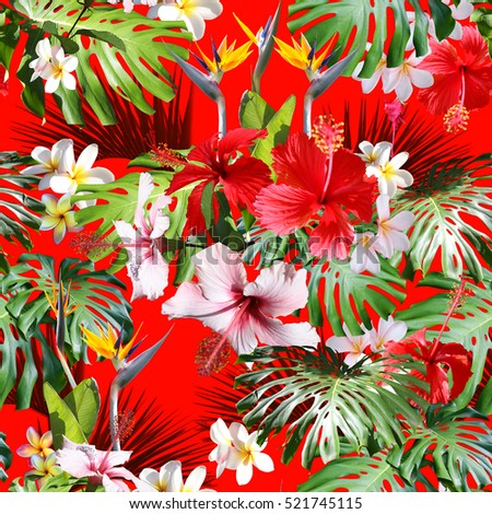 Amazing Tropical Print Hawaiian Shirts And Textile Floral Design Pattern Background Seamless On