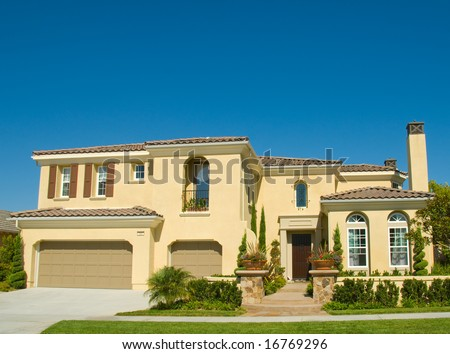 Amazing Two Story Stucco Executive House in Beautiful Community - stock photo