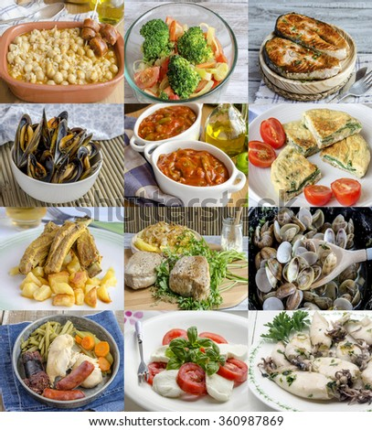 Amazing variety of different homemade dishes served on plates - stock photo