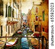 amazing Venice -artwork in painting style - stock vector