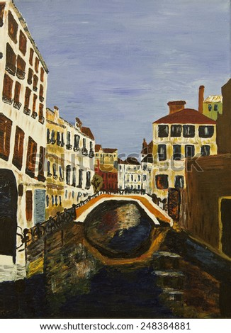 amazing Venice - artwork in painting style. - stock photo