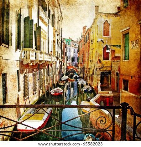 amazing Venice -artwork in painting style - stock photo