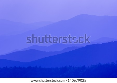 Amazing view from Clingman's Dome, Great Smoky Mountains National Park, Border of North Carolina and Tennessee - stock photo