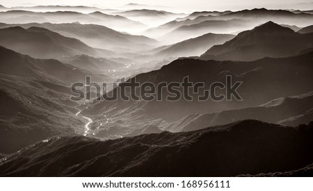 Amazing view from Moro Rock in Sequoia National Park, California. - stock photo