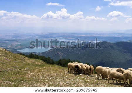 Amazing view from Nimfaio village, down to the valley, in Florina, Greece - stock photo