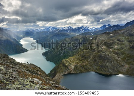 Amazing view from top of Beessegen in Norway - stock photo