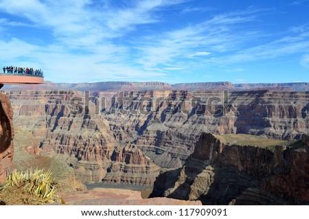 Amazing view Grand Canyon. Skywalk. Sky walk bridge. Arizona. USA. Mountains view over blue sky - stock photo