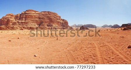 Amazing view in desert in Vadi Ram Jordan. Panorama