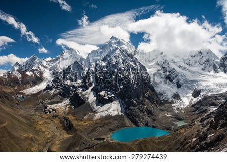 Amazing view in spectacular high mountains, Cordillera Huayhuash, Andes, Peru - stock photo