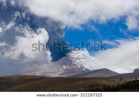 Amazing view of active Cotopaxi volcano erupting in Ecuador, South America - stock photo