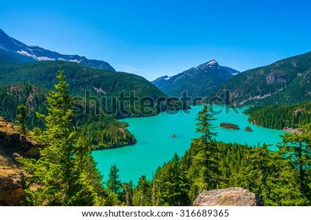Amazing view of Diablo Lake at North Cascades national park, Washington