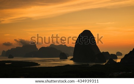 Amazing view of dramatic sunrise over Phangnga bay in Thailand