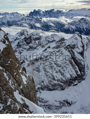 Amazing view of high winter Alps - stock photo