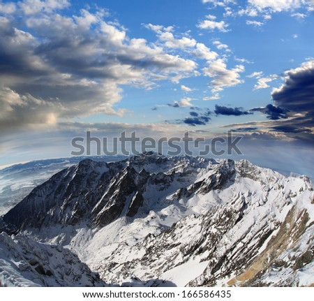 Amazing view of High winter Mountains against blue sky, High Tatras, Slovakia, Europe - stock photo