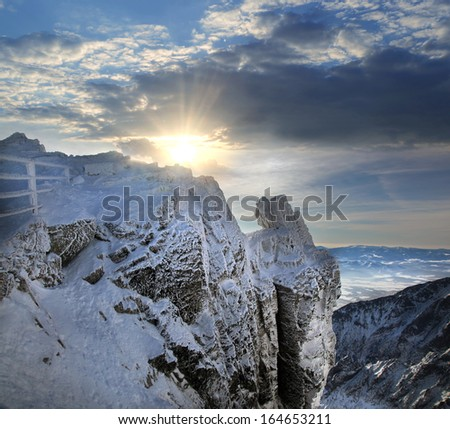 Amazing view of High winter Mountains against sunset - stock photo