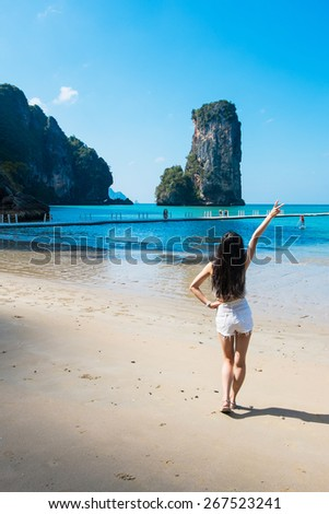 Amazing view of huge rock - Giant Nail, Thailand - stock photo