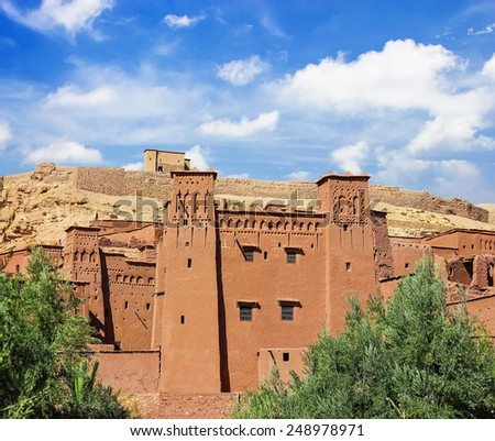 Amazing view of Kasbah Ait ben Haddou in Morocco - stock photo