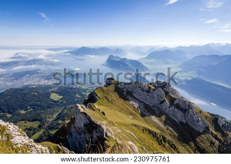 Amazing view of Lake Lucerne from Mt. Pilatus.  - stock photo