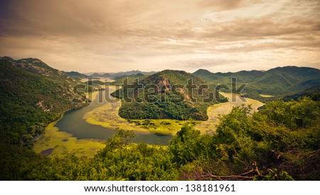 Amazing view of Lake Skadar - stock photo