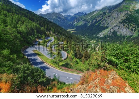 Amazing view of maloja pass, Alps, Switzerland, Europe. - stock photo