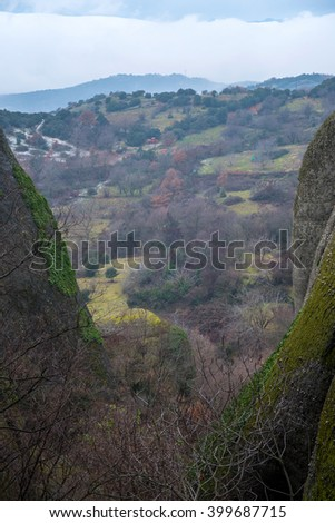 Amazing view of Meteora rock and monastery in Greece  - stock photo