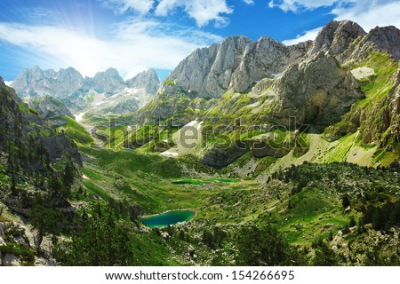 Amazing view of mountain lakes in Albanian Alps  - stock photo