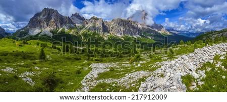 Amazing view of mountain trail, Tofane, beautiful Dolomites Mountains, Italy  - stock photo