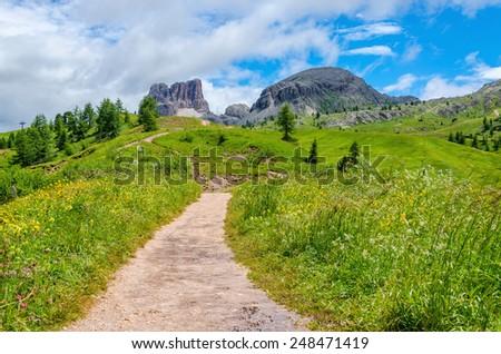 Amazing view of mountain trail, Tofane, Dolomites Mountains, Italy - stock photo