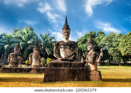 Amazing view of mythology and religious statues at Wat Xieng Khuan Buddha park. Vientiane, Laos