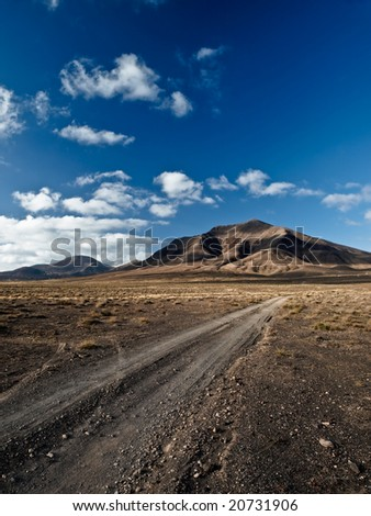 Amazing view of one of the vulcan of Lanzarote - stock photo