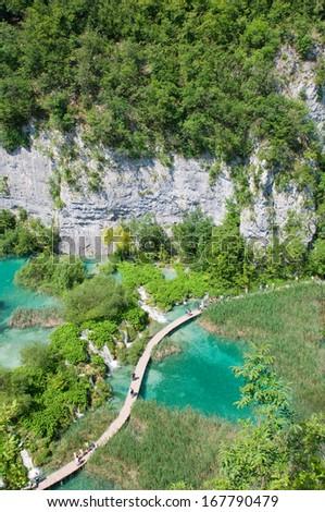 Amazing view of Plitvice lakes - national park of Croatia  - stock photo