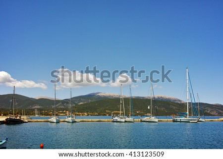 Amazing view of port of town of Sami, Kefalonia, Ionian islands, Greece - stock photo