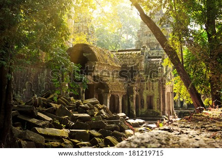 Amazing view of Ta Phrom temple ruins in Angkor, Siem Reap, Cambodia  - stock photo