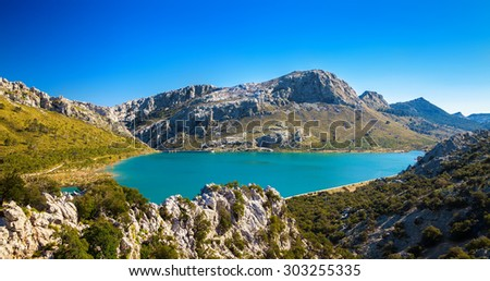 amazing view of the artificial Cuber lake in the Sierra de Tramuntana, Majorca, Spain - stock photo
