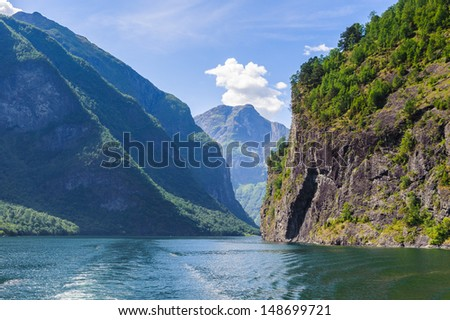 Amazing view of the branch of Sognefjord, Norway - stock photo