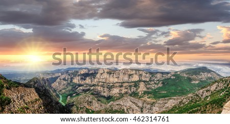 Amazing View Of The Gorges Du Verdon Canyon against colorful sunset in Provence, France. Provence-Alpes-Cote d'Azur.