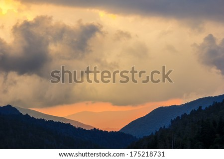 Amazing view of the Great Smoky Mountains National Park at sunset - stock photo