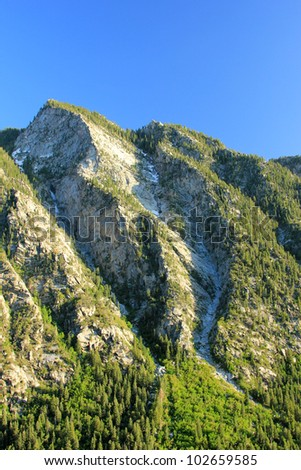 Amazing view of the Wasatch Mountains in Little Cottonwood Canyon, Utah. - stock photo