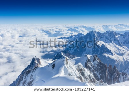 Amazing view of trail near the Mont Blanc mountain - stock photo
