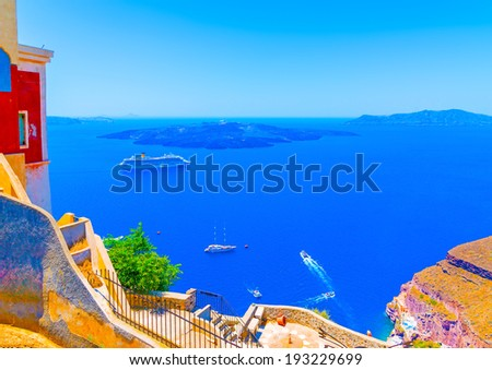 Amazing view of Volcano from  Fira the capital of Santorini island in Greece - stock photo